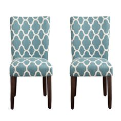 Turquoise Quatrefoil Parsons Chairs, Set of 2 | Kirklands