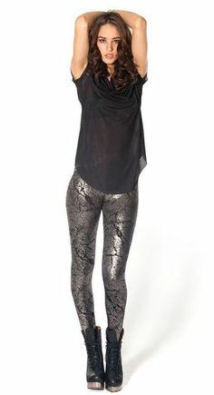 Cracked Silver Leggings