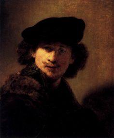 "REMBRANDT ""Self-Portrait with Velvet Beret and Furred Mantel"" 1634, Oil on oak, 58 cm x 48 cm, Staatliche Museen, Berlin"