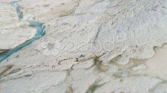 Aerial view glacial ice river of ice blue water, Alaska - Stock Footage | by Spotmatik