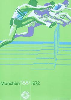 Otl Aicher Original Poster: Olympic Games 1972 - Hurdles