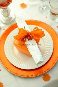 Table Decor not orange but like the box and napkin idea