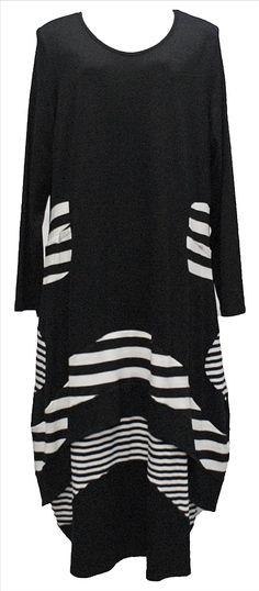 AKH Fashion Lagenlook verrücktes langes Kleid in schwarz - weiß XL Mode bei www.modeolymp.lafeo.de