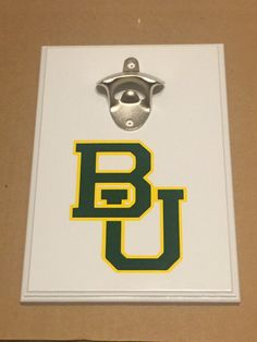 Homemade wooden wall mount baylor bears bottle opener with magntic cap catcher