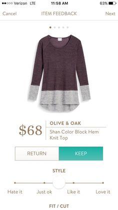 Olive and Oak Shan Color Block Hem Knit Top - plum gray - Stitch Fix 2016