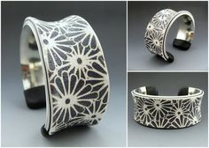 Cuff bracelet. Polymer over silver plated brass