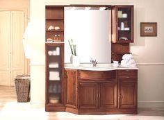 Mobile bagno Ilaria in arte povera da 105 cm con specchio e pensile ...