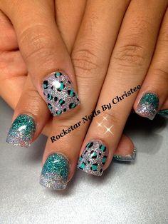 Rockstar cheetah print glitter acrylic nails by Christee