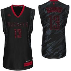 adidas James Harden Houston Rockets 2013-14 Stacked Fashion Swingman Jersey - Black