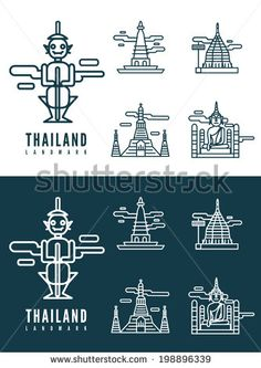 Thailand landmarks. flat design element. icons set in white and dark background. vector by MS planet, via Shutterstock
