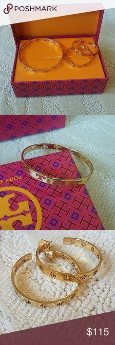 Tory Burch Bracelet & Earrings Tory Burch gold bracelet and matching hoop earrings. Barely worn- like new! Make me an offer :) Tory Burch Jewelry