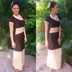 Brown n tan Island Wear, Island Outfit, Samoan Designs, Samoan Dress, Island Style Clothing, Special Dresses, Different Dresses, Dress Patterns, Sewing Patterns