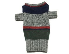 Designer Dog Sweater, XX Small Wool Blend Green, Red, Blue and Gray Striped, Chihuahua, Maltese Handmade Pet Apparel Clothes 0295