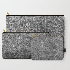 """""""Grey and black doodles"""" Carry-All Pouch by Savousepate on Society6 #pouch #purse #clutch #bag #pattern #hobo #modern #graphic #geometric #abstract #doodles #scrolls #spirals #arabesques #zentangles #black #grey #gray #blackandwhite #darkcolors"""