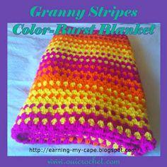 Crochet, granny stripes, Free Crochet Pattern, Granny Stripes Blanket, Crochet granny stripes color-burst blanket,