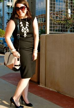 Black sheath and a contrasting bubble necklace