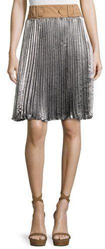 3.1 Phillip Lim Sunburst Pleated Skirt w/ Contrast Waist, Platinum