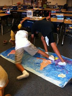 Geography twister: make large map on a sheet and have the spinner be color coded and states painted in those colors. Borrow Sandy's projector?