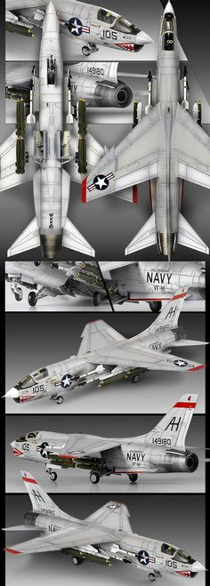 "Beautiful model of the Vought F-8E 'VF-111 Sundowners. F8U / F-8 United Aircraft Corp LTV Aero won Navy competition for a fleet single seat, air superiority fighter; beat out the F-11, F-3H, and F-100.  The ""last gunfighter""; at the time it was considered the ultimate day fighter. Served over Vietnam. Armed with 4x20 mm cannon. Mach 2. 1200+ built."