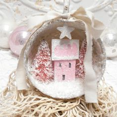 Shabby Chic Putz House Ornament OOAK I made a little house painted and glittered it. I added small bottlebrush trees I bleached, dyed,