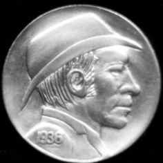 DAVE BOULAY HOBO NICKEL - BEARDLESS MAN WITH DERBY OBVERS/WHALER REVERSE - 1936p BUFFALO NICKEL 2 SIDED CARVING Hobo Nickel, Buffalo, Derby, Classic Style, Coins, Auction, Carving, Artist, Rooms