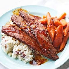 Beef Brisket Meal-is a delicious, braised beef meal recipe. It is also a Slow-Cooker recipe that includes carrots and mashed potatoes with cooking juices. This is a great option for your summer and spring meal rotation and would work well for large families, guests and holidays. It is also a healthy, low calories, low fat, low cholesterol, low sodium, low sugars, low carbohydrates, heart-healthy, diabetic-friendly and Weight Watchers (8 PointsPlus), (9 SmartPoints) recipe. Makes: (6)…