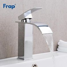 Val - Deck Mounted Waterfall Spout Chrome Bathroom Faucet Water Faucet, Water Tap, Brass Faucet, Sink Faucets, Modern Bathroom Faucets, Bathrooms, Large Kitchen Sinks, Brass Kitchen, Room Kitchen
