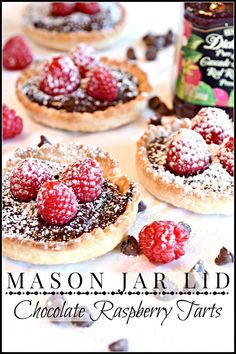 MASON JAR LID CHOCOLATE RASPBERRY TARTS-you will love this recipe-so easy to make and so impressive-stonegableblog.com
