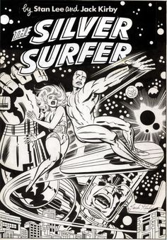 Jack Kirby and Joe Sinnot's unused cover for the 1978 Silver Surfer book. On the final published edition, Earl Norem produced a painting that reflected this basic composition.