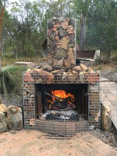 Gabion fireplace at the beach house