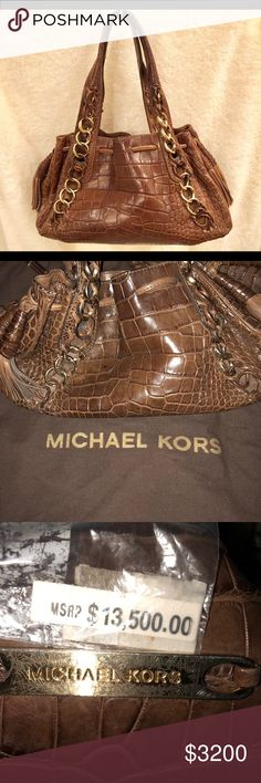 Michael Kors Brown Alligator Bag Michael Kors alligator bag. It comes with dust bag. Please see photos for more details.   Smoke free and pet free home.   Please message me for best offer or for any questions. Michael Kors Bags Hobos