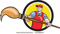 Illustration of an artist painter holding a giant paint brush set inside circle on isolated background done in cartoon style. #painter #cartoon #illustration