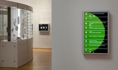 Wayfinding signage at the Museum of Arts and Design in New York city; designed by Pentagram.