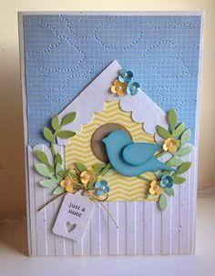 "By Gina Wiseman, from ""The Firefly Studio"", Stampin' Up! Making Greeting Cards, Greeting Cards Handmade, Cricut Cards, Stampin Up Cards, Housewarming Card, New Home Cards, Punch Art Cards, Bird Cards, Handmade Birthday Cards"