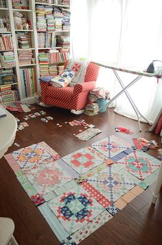 APQ quilt along | Flickr - Photo Sharing!  Camille Roskelley's sewing room. LOVE!!!! OMG, give me five minutes there just to drool!