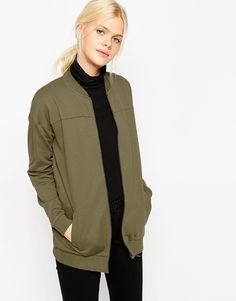 ASOS Longline Bomber In Jersey In Cotton