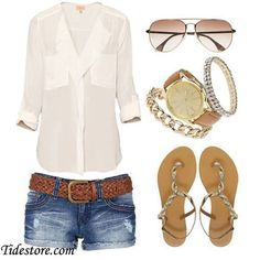 sheer white blouse, sparkly jewelry, jean shorts, flat sandals, and pretty sunglasses. Mode Outfits, Casual Outfits, Fashion Outfits, Fashion Ideas, Dress Casual, Casual Wear, Fashion Trends, Mode Chic, Mode Style