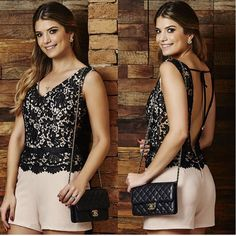 MACACÃO DEUSA RENDA – UNICAS – Claudia Oliveira Oficial Luxury Dress, Look Fashion, Casual Looks, Summer Outfits, Camisole Top, Jumpsuit, Chic, Rompers, Street Style