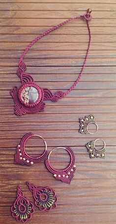 Bordeauxred macrame Jewelry by JoyMade #boho #jewelry #hippie