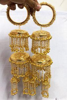 Maahi Exclusive Pearl Kalire 008 | Etsy Indian Jewellery Design, Indian Jewelry, Jewelry Design Earrings, Jewlery, Bridal Chura, Punjabi Bride, Unique Bracelets, Bridal Outfits, Saree Blouse Designs