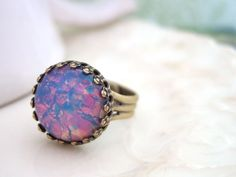 PINK OPAL vintage glass jewel ring in antique by plasticouture, $14.50