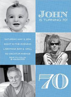 3 Square Photo Chambray Photo Birthday Invitations
