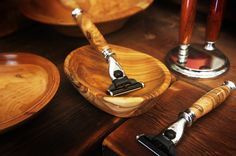 Some of our razors and hand-turned shaving bowls in different woods.  http://www.imperiumwood.com/