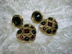 Givenchy Paris Vintage Runway Earrings Chunky Jeweled Dangles | eBay
