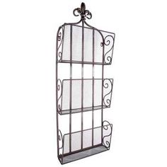 Black 3-Tier Magazine Rack with Fleur-De-Lis Top