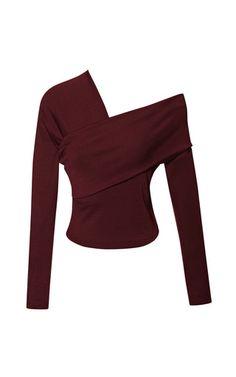 3/4 Sleeve Asymmetric Draped Top by Isa Arfen for Preorder on Moda Operandi
