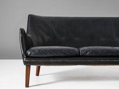 Arne Vodder // Ivan Schlechter Black Leather Sofa