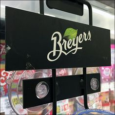 Prime location is prime location, says this Breyers-vs-Smuckers Cooler-Door Rack. Breyers items apparently sold out quickly so Smuckers moved in taking over Door Stripping, Door Rack, Cool Doors, Store Fixtures, Rack Design, Hot Fudge, Close Up, Retail, Cool Stuff