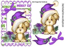 Cute puppy in purple santa hat with present on Craftsuprint designed by Nick Bowley - Cute puppy in purple santa hat with present, also can be seen in other colours cup640367_415 matching insert - Now available for download!