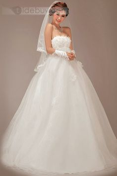 素晴らしいAライン花ストラップレスエンパイアウエストロングウェディングドレス